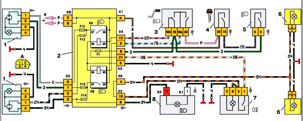 Рис.1 Схема включения фар и