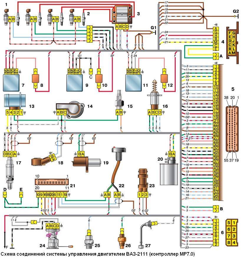 Фото №6 - схема проводки датчика детонации ВАЗ 2110
