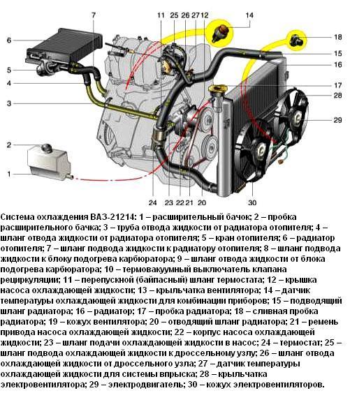 Схема двигателя 21214