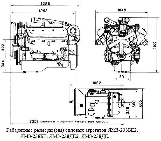 Габариты ЯМЗ-238.