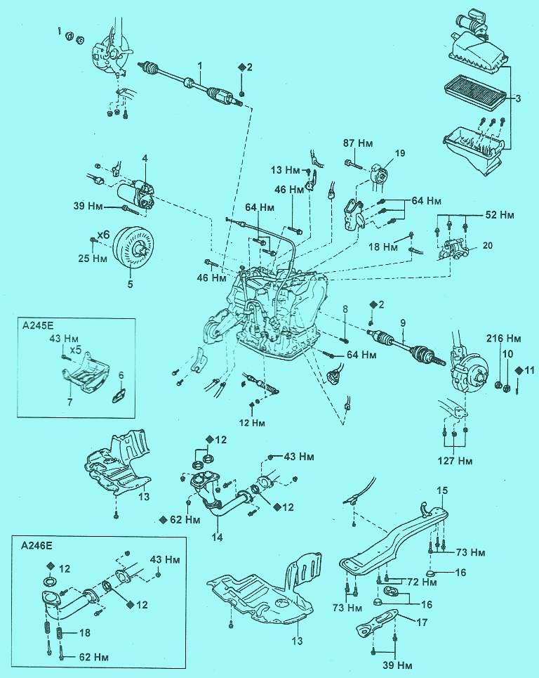 Снятие коробки передач Toyota