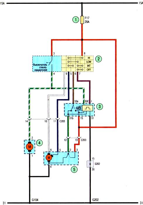 Схема стеклоочистителя и