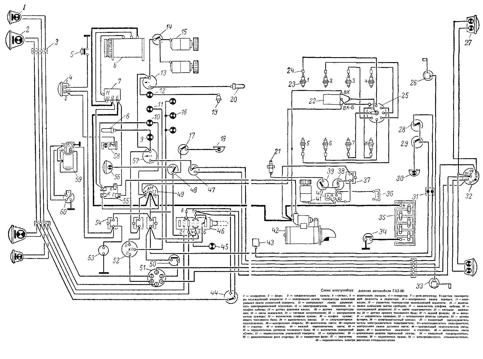 Газ 66 зажигание схема