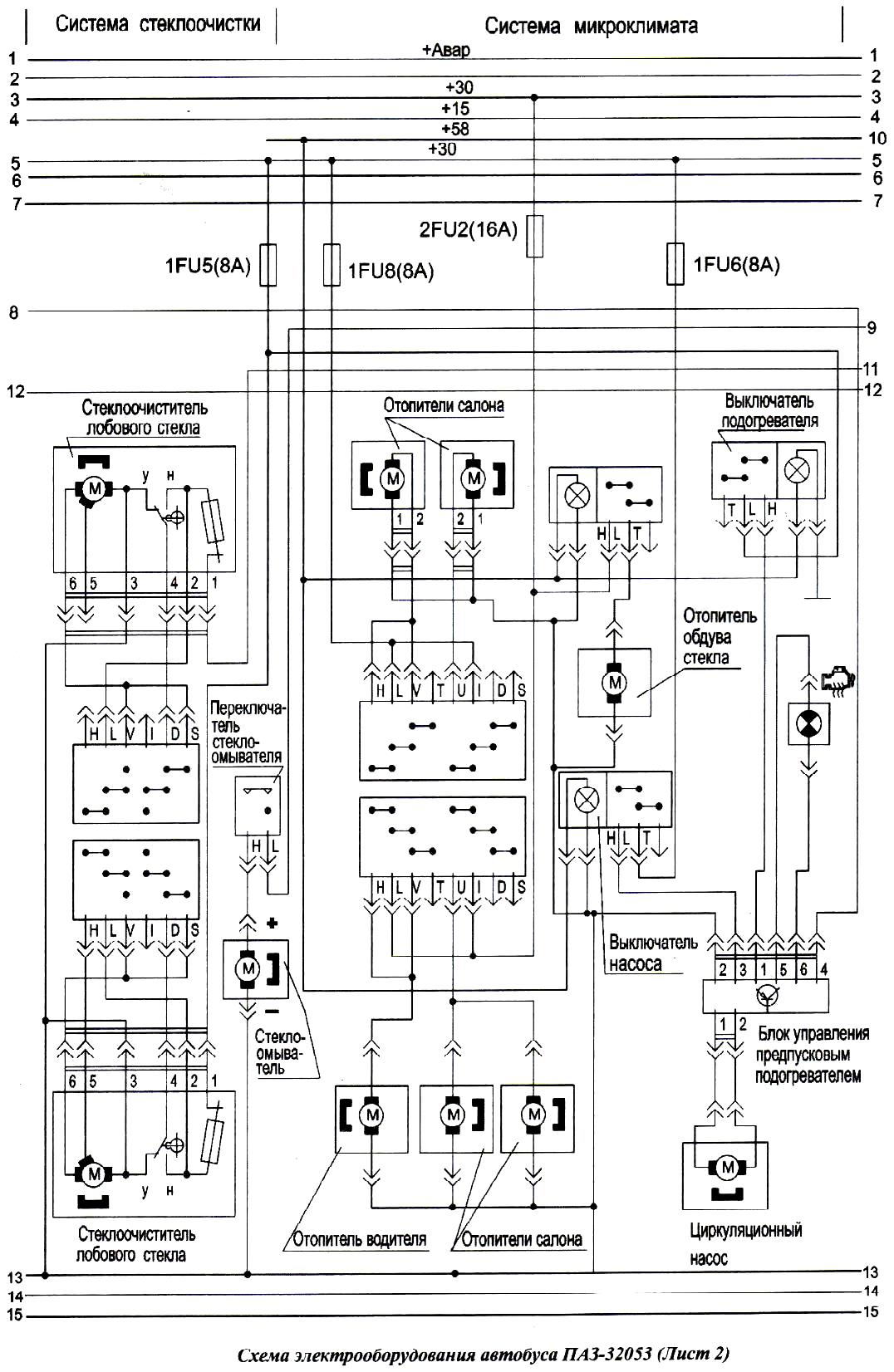 цветная электросхема паз 32053