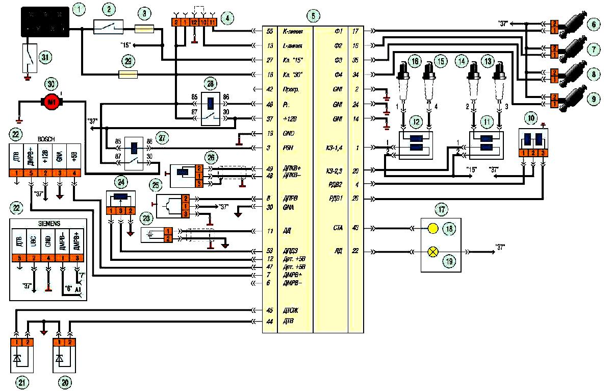 Схема электронного блока управления двигателем фото 926