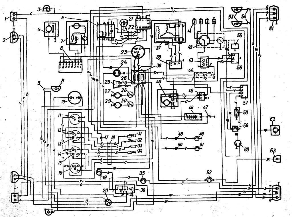 Схема жгутов проводов УАЗ-3741