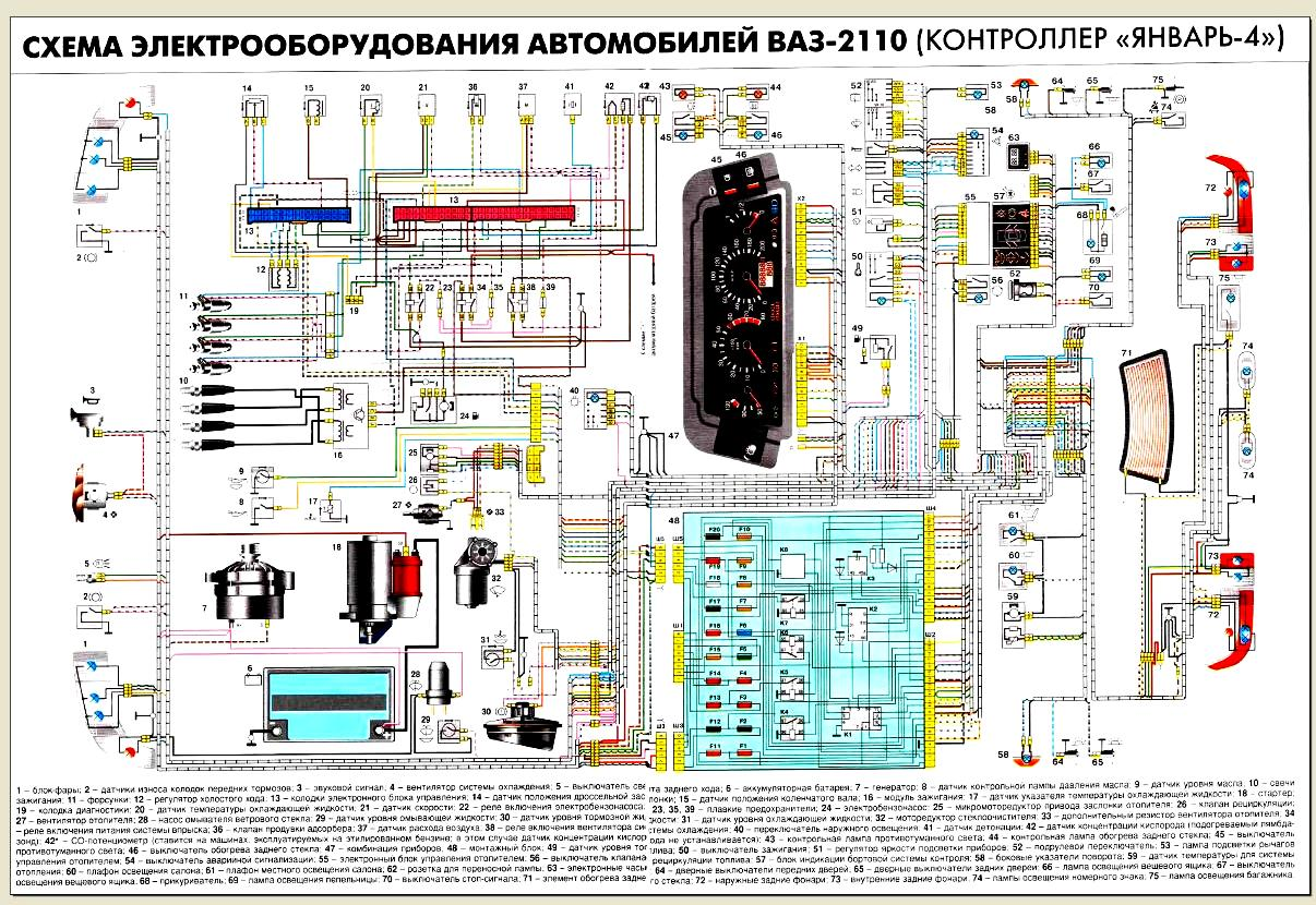 Ваз-2110 схема электрооборудования автомобиля4