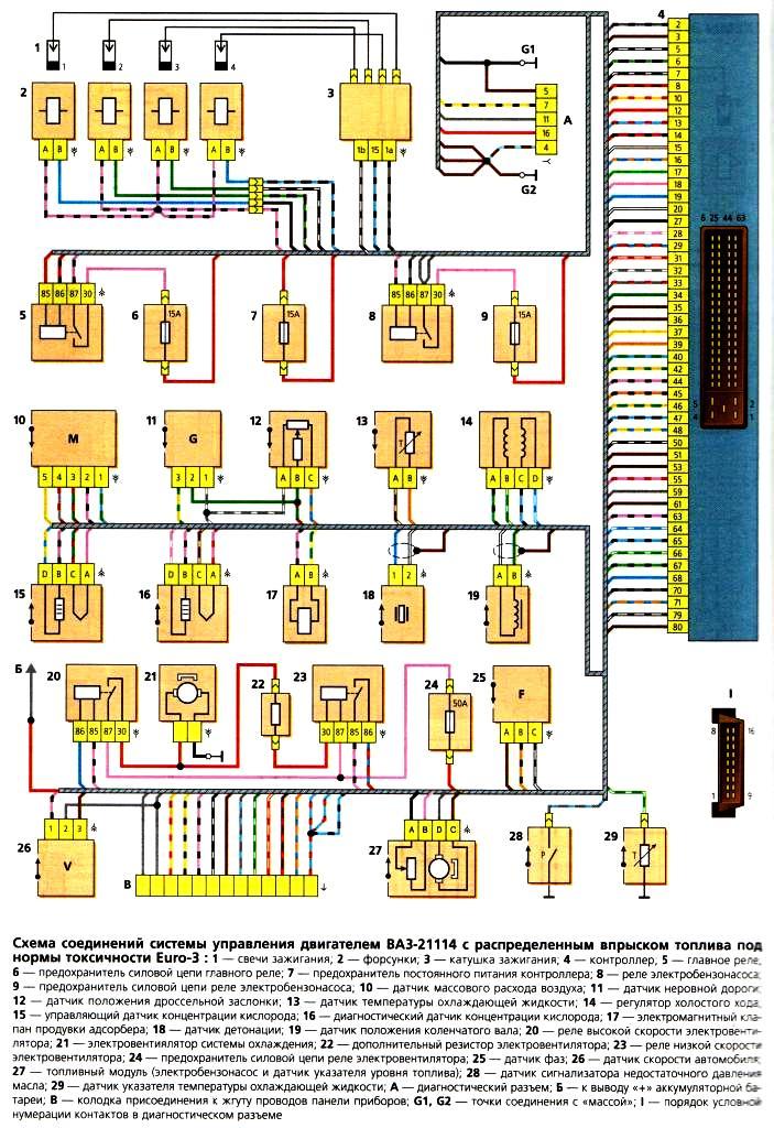 Схема электрооборудования ваз 2105 инжектор