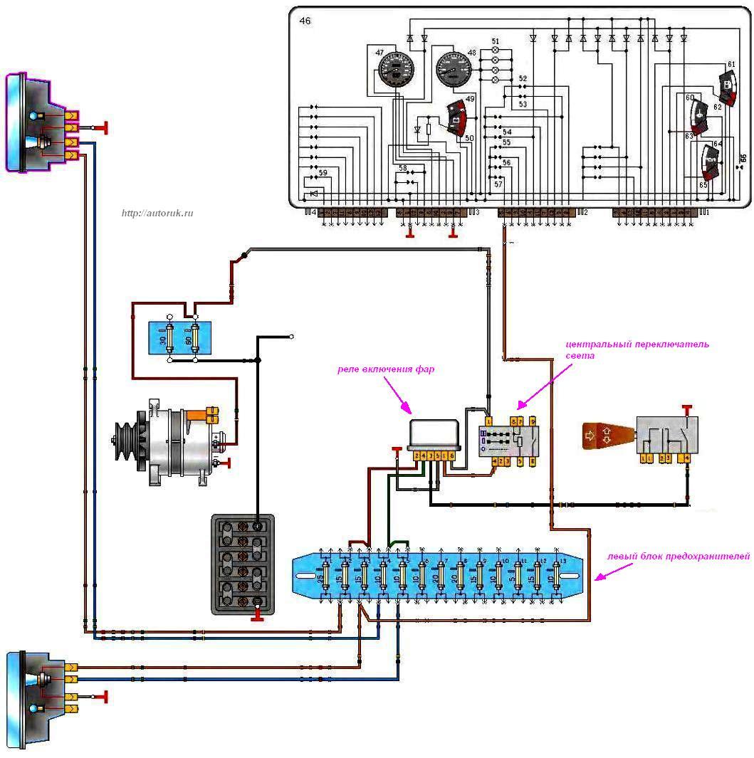 Схема света фар газ-3110