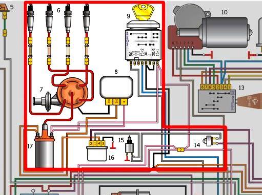 Систему зажигания с двигателем