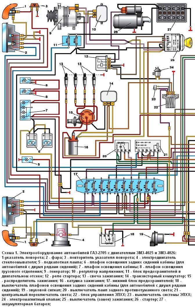 Газель змз-402 электрическая схема