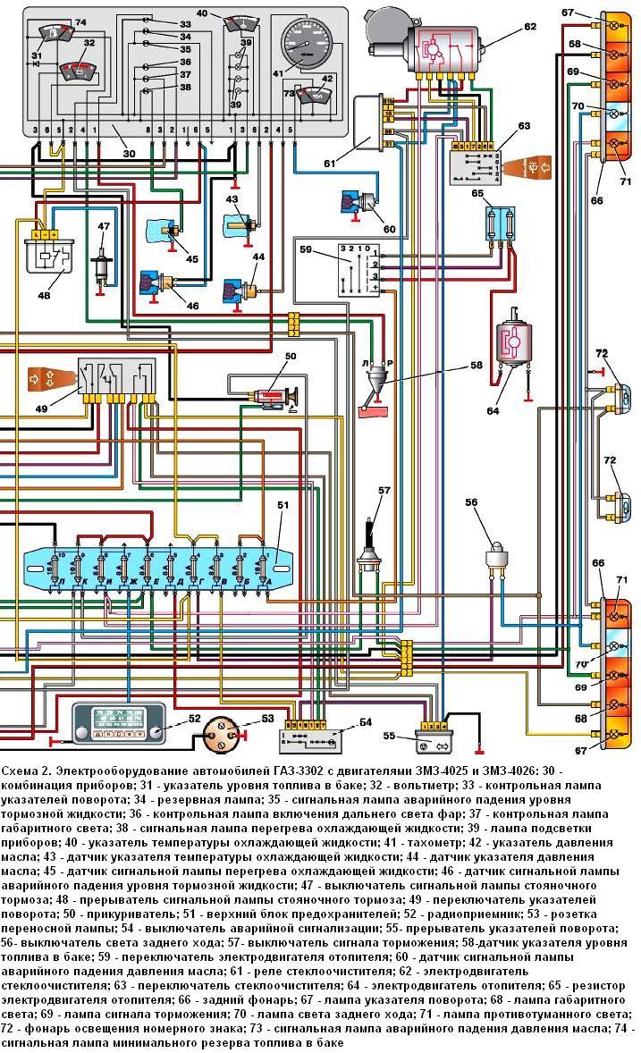 Схема электропроводки газ 2705 двигатель 402
