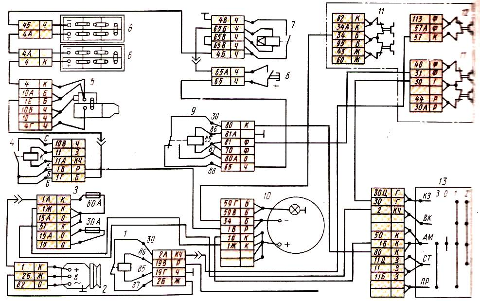 цветная электро схема камаз 6520 евро 2