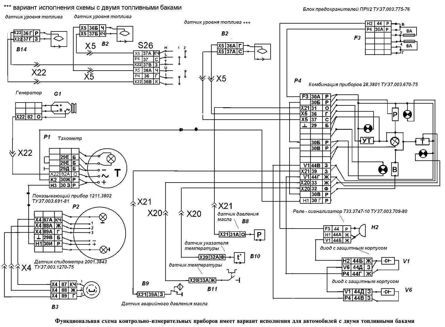 схема подключения измерительных приборов.