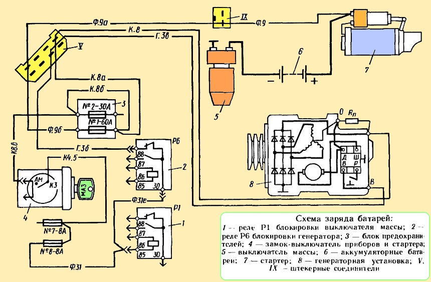 Эл схема зарядки акб