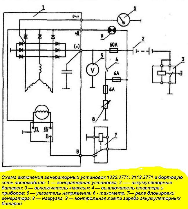 Схема включения генераторной