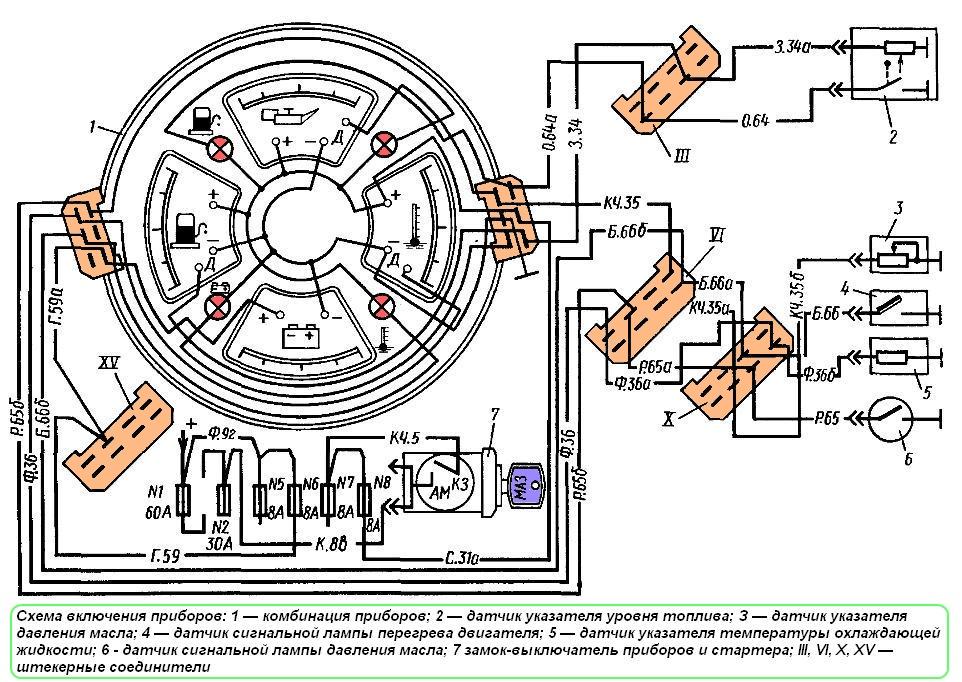 Схема включения приборов МАЗ