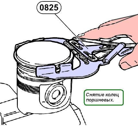 Снять кольца поршневые (8),