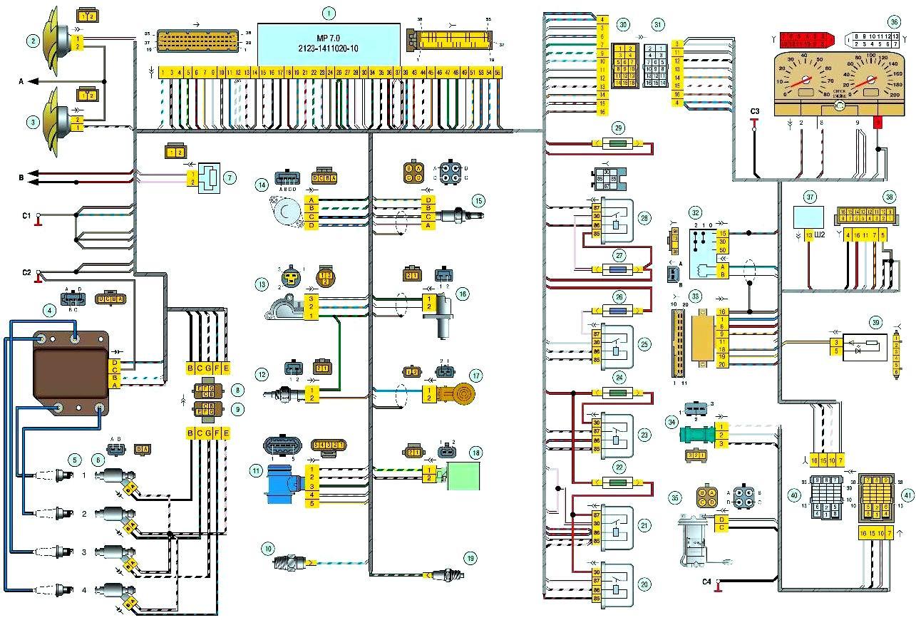 электрическая схема автомобиля шевроле нива (chevrolet niva